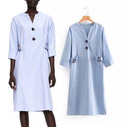 b4005568ddd44 2018 femmes vêtements trois quarts manches V-Neck ceinture solide chemise  décontractée robe