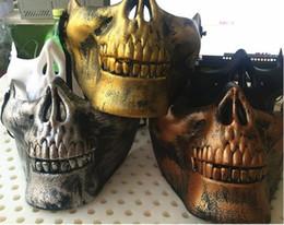 full protective paintball mask 2019 - DHL Free Halloween Skull Masks Skull Skeleton Airsoft Paintball Half Face Protective Mask Hot Sale 40pcs