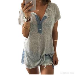 Wholesale Cotton Tees Australia - Wholesale- 2017 t shirt women summer tops tees ladies short solid V-neck button t-shirt Cotton female tshirt woman plus size crop top#48