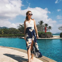 1625bb737f29 Lace paneL beach online shopping - Women Lace Stitching Printed Sling  Dresses Fashion Sexy Casual V
