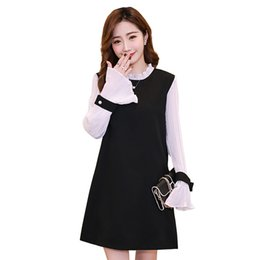 c75c19dd0d877 Pengpious 2018 autumn maternity clothes Korean style sweet pregnant women  dress office lady elegant dress pleated sleeve sweet