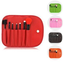 Best Quality 7pcs Make Up Brushes Set Kits Eyelash Blush Eye-shadow Brush Sponge Sumudger Makeup Tools With PU Bag CS00730