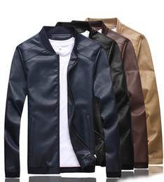 $enCountryForm.capitalKeyWord Australia - Motorcycle Pu Leather Jacket Men Slim Fit Stand Collar Jackets Coats Khaki Black Blue Brown Korean Outerwear Plus Big Size 4XL