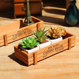sugar pots 2019 - retro Wooden box Succulent Container for potted plants desktop organizers Cosmetics collection Flowers Pot Multi-functio