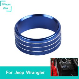 blue ring headlights 2019 - Aluminum Alloy Blue Headlight Switch Trim Ring 1PCS Decoration Cover Fit Jeep Wrangler JL 2018+ Auto Interior Accessorie