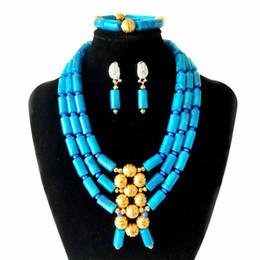 $enCountryForm.capitalKeyWord UK - New 3 Rows Sky Blue Turkish Imitation Coral Beaded Necklace Nigerian Wedding Jewellery Set Bridal Jewelry Women African Costume Jewelry Set