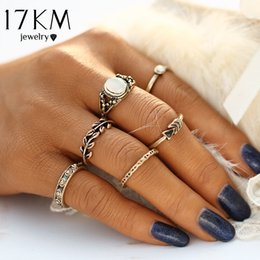 Boho Style Rings Australia - whole sale17KM Retro Style Bohemia Vintage Leaf Jewelry Unique Carving Tibetan Gold Color Ring for Woman 5PCS Set Punk Boho Opal Ring Sets
