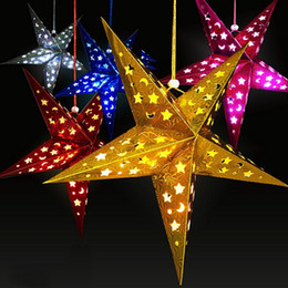 shades christmas Australia - 1PC Home Decor Christmas Tree Ornament Party Hanging Pentagram Lamp Shade Paper Star Decorations Xmas Tree Random Color