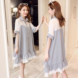 909  Large Size Patchwork Maternity Blouses 2018 Summer Fashion Plus Size  Loose Clothes for Pregnant Women Pregnancy Shirt Dress 837fc32cccc2