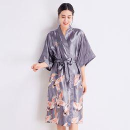 Wholesale satin bathrobes women online – GREY Bride Bridesmaid Wedding Robe Gown Sexy Women Sleepwear Satin Kimono Bathrobe Half Sleeve Nightdress Casual Home Wear
