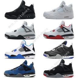 67cedb69bd82 Cheap New 4 4s Mens Basketball Shoes Motosports Blue Oreo Eminem White  Cement Pure Money Toro Bravo Bred Military Blue Cavs Sports Sneakers