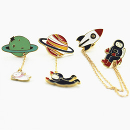 Arts,crafts & Sewing Apparel Sewing & Fabric Fast Deliver 1 Pcs Creative Planet Rabbit Pilot Metal Brooch Button Pins Denim Jacket Jewelry Pin Decoration Badge For Clothes Lapel Pins
