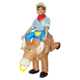Wholesale Adult Child Halloween Mascot Ride a Bull Inflatable Bull Costume Costumes for Men Kids Boy s Clothing LJ