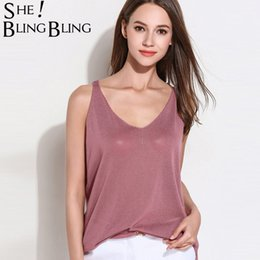 $enCountryForm.capitalKeyWord NZ - SheBlingBling One Size Summer Sleeveless Women Thin Tank Tops Fashion Rolled Detail Deep V-Neck Loose Tops Sheer Knit Camis