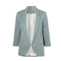 b5c1e6e8eaf03 2015 Womens Candy Colors Slim Casual Blazer With Three Quarter Sleeve  Notched Jacket Coat Outwear Plus Size Solid Work Blazer L18101302