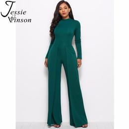 be9a89c26e9 Jessie Vinson Women Overalls Long Pants Long Sleeve Turtleneck Wide Leg  Jumpsuit Female Rompers Jumpsuits 2018