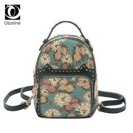 $enCountryForm.capitalKeyWord Canada - Mini Printing Flower Backpack Female Cute Backpacks for Girls Multifunctional Bagpack Small Rivet Back Pack Ladies Shoulder Bags