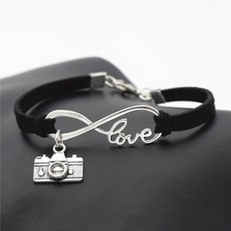 $enCountryForm.capitalKeyWord Australia - Hot Infinity Love Photograph Camera Pendant Couples Bracelet Bangles Classic Black Leather Suede Rope Jewelry for Men Women Best Friend Gift