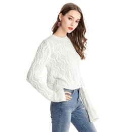 Knitted Cables Canada - Kenancy Women Sweater Long Sleeve O-neck Solid Pullovers Casual Autumn Stereoscopic Pattern Design Loose Cable-Knit Sweater Tops