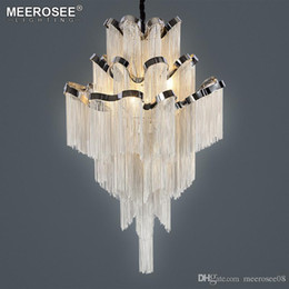 French Art Deco Lamp Australia - French Empire Aluminum Chain Chandelier Light Fixture Lustre Hanging Suspension Lamp luminaria Chain Project Lighting