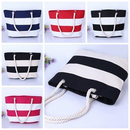 Discount stripe canvas tote beach bags - Canvas Tote Beach Bags Large Capacity Foldable Grocery Bags Reusable Eco-friendly Shopping Bag Travel Outdoor bag GGA303