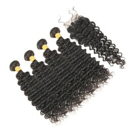 Chinese  Brazilian Deep Wave Curly Virgin Human Hair 4x4 Lace Closure With 4 Bundles Unprocessed Human Hair Extensions Natural Color manufacturers