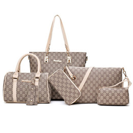 Pink sugao women handbags lattice 6pcs set handbag fashion clutch handbags tote bag cross body bag women messenger shoulder bag wallet on Sale