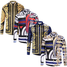male designer clothes UK - Fashion Designer Slim Fit Shirts Men 3D Medusa Black Gold Floral Print Mens Dress Shirts Long Sleeved Business Casual Shirts Males Clothes