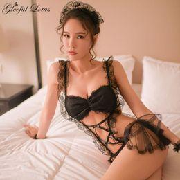 15b055b9a Traje de la criada del cordón francés negro atractivo Teddy Body Lencería  exótica Lenceria Porn Mujeres Ropa Sexy Ropa de dormir Babydoll 2018