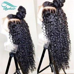 Bythair Deep Curly Lace Front Echthaar Perücken Pre gezupft Haaransatz brasilianisches reines Haar volle Spitzeperücke mit dem Babyhaar natürliche Farbe im Angebot