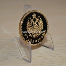 Russia Coin Australia - 1901 Russia Nicholas II of Russia II Ruble Gold Plated Commemorative Coin With Acrylic Case Cover