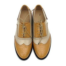 brogues shoes women Australia - British style vintage oxfords shoes women low heel fashion genuine leather brogue shoes College Wind Mixed colors ladies Flats