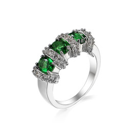 Chinese  5 Pieces 1 lot Lucky Shine Friend Gift Dazzling Full Fire Green Crystal Zircon 925 Sterling Silver Rings Russia American Australia Wedding manufacturers
