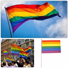 Discount gay wedding wholesale - 5.5*8.5 inch Polyester 14*21cm Lesbian Gay Pride LGBT Flag Colorful Rainbow Flag Banners Party Decorations Wedding Cente