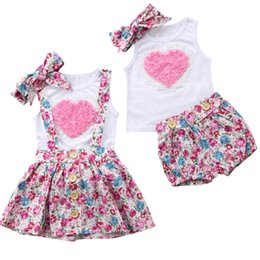 China New Kids Baby Girls Sister Dress Floral Outfits Clothes T-shirt +Vest Pants  Skirts+ Headband 3PCS Set Pink Heart Family Matching Clothing supplier family dress clothes suppliers