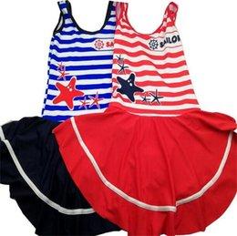 Discount girls bathing suit kids swim - 2018 Brand New Children's Swimsuit Big Kids Girl Stripe Swimwear One-piece Swimsuit Bathing Suit Beach Swimming Clo