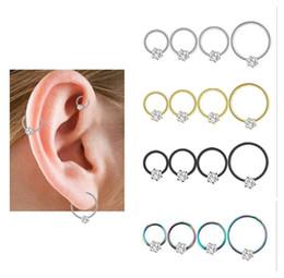 $enCountryForm.capitalKeyWord NZ - Stainless Steel Round Zircon Stud Earrings Cuff Jewelry Unisex Ear Bones Nail allergy free 4 colors