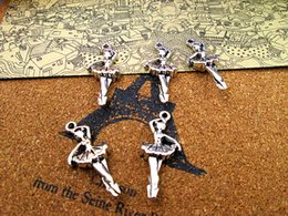$enCountryForm.capitalKeyWord Australia - 15pcs--31*14mm Antique Silver Plated Double Side Dancing Girl Charms, Ballet Charms pendants