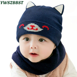 Discount knit dog collar - New Autumn Winter Cotton Baby Hat with Dog Ear Knitted Children Beanies Cap Scarf Collar Girls Boys Warm Wool Hat Toddle