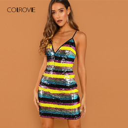 COLROVIE Color Block Spaghetti Strap Sexy Dress Women 2018 Autumn  Sleeveless Club Party Dresses Evening Mini Bodycon Dresses 624a333351c4