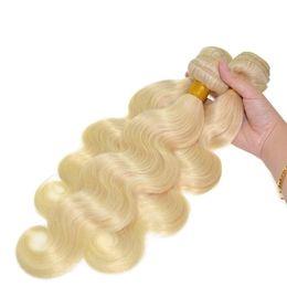 $enCountryForm.capitalKeyWord NZ - 2016 New Arrival 100% 8A Blonde 613# Russian Virgin Hair Body Wave Human Hair Weaves 3 Bundles Lot 300G 8-30'' 613 Hair Extensions