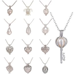 Pearl Party Oysters Australia - Pearl Cage Love Wish Locket Pendant Necklace Artificial Natural Pearl with Oyster Pearl Mixed Hollow Clavicle Chain Necklace T6C051