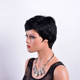 Straight Bangs Wig Australia - Xiu Zhi Mei Short Straight Wigs for Women Natual Black African American High Temperature Fiber Synthetic Hair Wig with Bangs