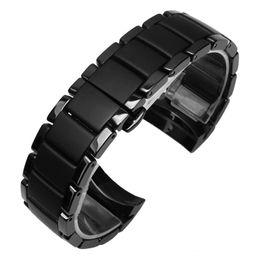 Discount band cases - Ceramic watchband for AR1452 AR1451and case 22mm 24mm High Quality Black Ceramic Strap Bracelet steel black Deployment b