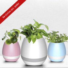 Pot Speaker Australia - New portable wireless Bluetooth mini speaker intelligent sensor music flower pot green plant basin colorful light creative intelligent music