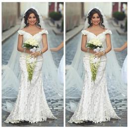 Slim full lace wedding dreSS online shopping - 2018 Full Lace Off the Shoulder Slim Floral Mermaid Wedding Dresses Said Mhamad Elegant Bridal Gowns Plus Size Fall Arabic Custom Vestidos