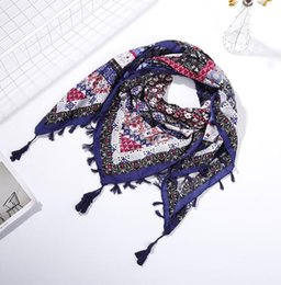 women nice scarves 2021 - Hot sell women scarf Cotton and linen printing square wraps girl nice tassels scarf multi styles