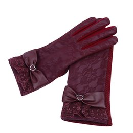 e960fddb9da8 300PAIRS LOT Women Gloves Lovely Bow Lace Lady PU Leather Winter Gloves  Riding Driving Warm Soft Guantes
