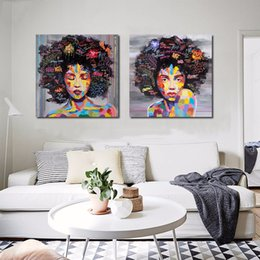 Discount street art painting frame - New Graffiti Street Wall Art Abstract Modern African Women Portrait Canvas Painting On Prints For Living Room No frame