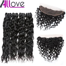 cheap water wave weave 2019 - Wholesale Cheap 8A Brazilian Hair Water Wave With Lace Frontal Closure 4pcs Hair Bundles With 13x4 Ear to Ear Lace Front